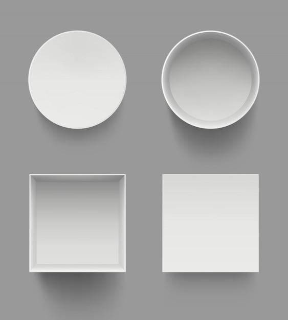 Dozen bovenaanzicht. geschenken presenteren open witte gevallen sjabloon mockup geïsoleerd Premium Vector