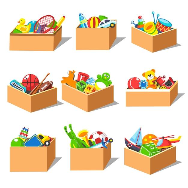 Dozen met kind speelgoed set Premium Vector