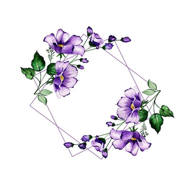 Draad aquarel floralen frames Premium Vector
