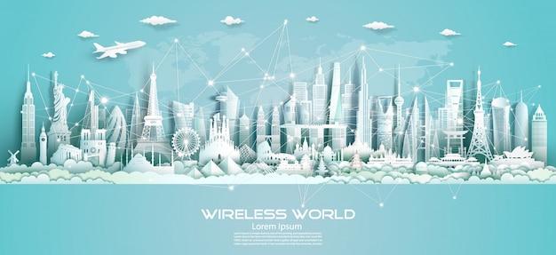 Draadloze communicatie smart city en netwerktechnologie van de wereld. Premium Vector