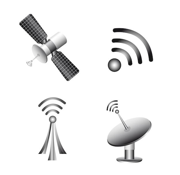 Draadloze technologie en communicatie iconen vector Premium Vector