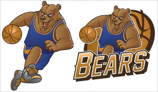 Draag cartoon basketbal mascotte Premium Vector