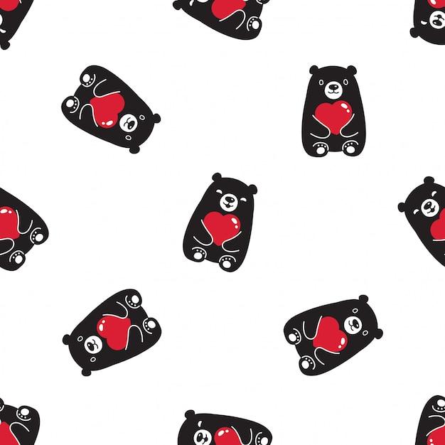 Draag polair naadloos patroon valentijnskaarthart Premium Vector