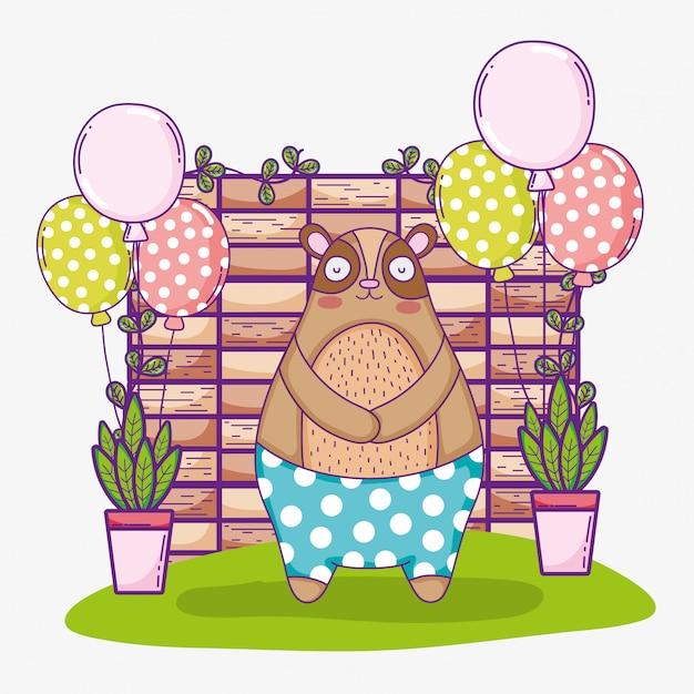 Draag schattige dieren gelukkige verjaardag met ballonnen Premium Vector