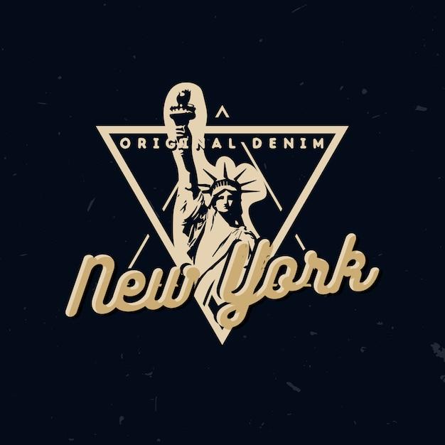 Draag typografisch ontwerp, t-shirt print met vrijheidsbeeld en tekst new york Premium Vector
