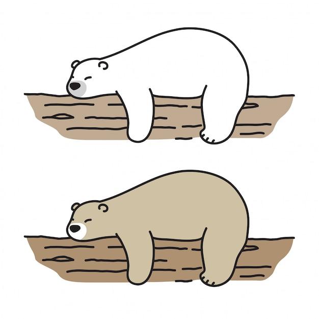 Draag vector polar bear slaap log cartoon Premium Vector
