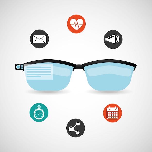 Draagbaar technologiepictogram dat met glazen wordt geplaatst Gratis Vector