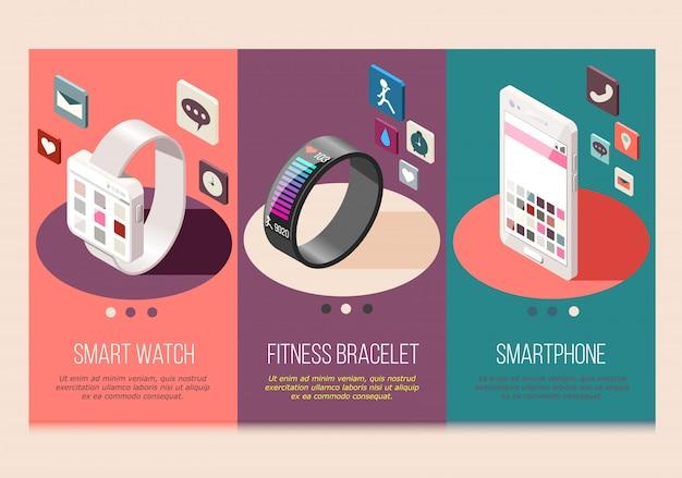 Draagbare elektronica slimme telefoon en horloge fitness armband set isometrische composities geïsoleerd Gratis Vector