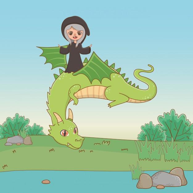Draak en heks van sprookje Gratis Vector