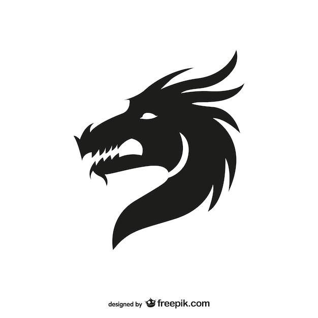 Draak hoofd silhouet Gratis Vector