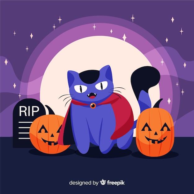 Dracula-kat omringd door pompoenen Gratis Vector