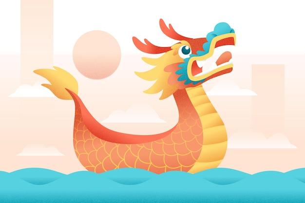 Dragon boat achtergrond concept Gratis Vector