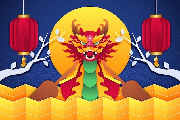 Dragon boat achtergrond in papier stijl Gratis Vector