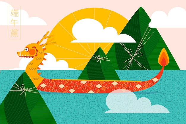 Dragon boat achtergrond Gratis Vector