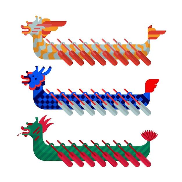 Dragon boat collectie concept Gratis Vector
