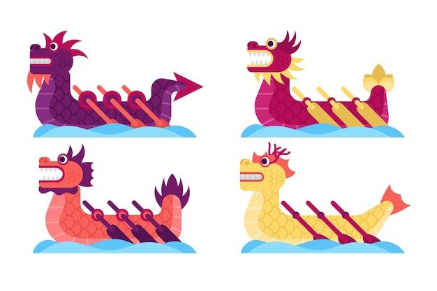 Dragon boat collectie Gratis Vector