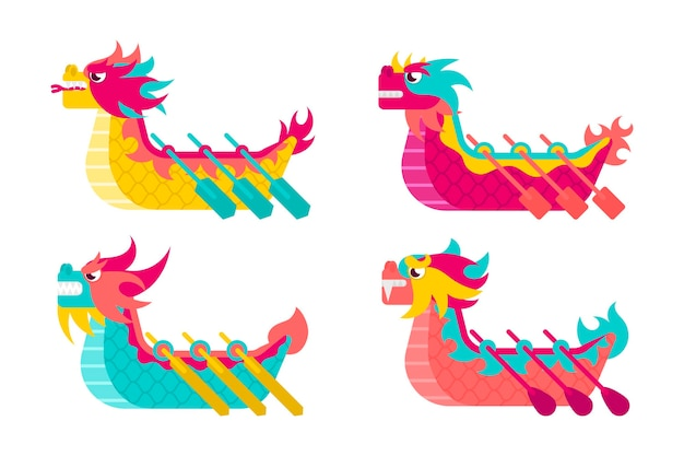 Dragon boat collection thema Gratis Vector