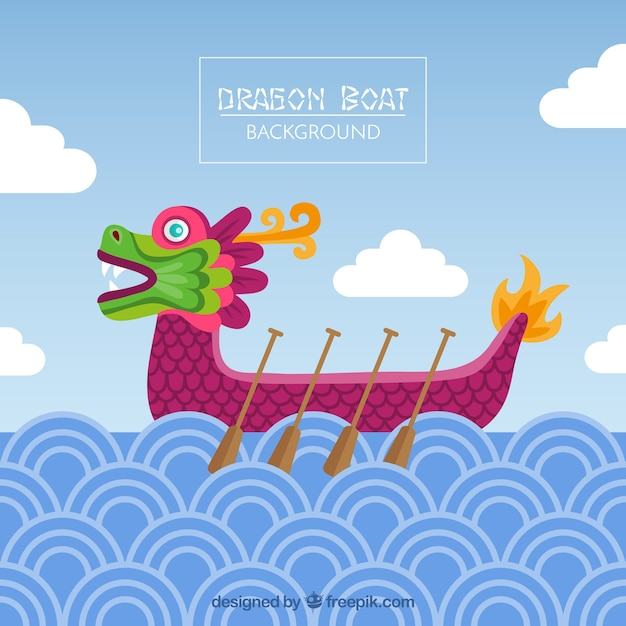 Dragon boat festival achtergrond in plat design Gratis Vector