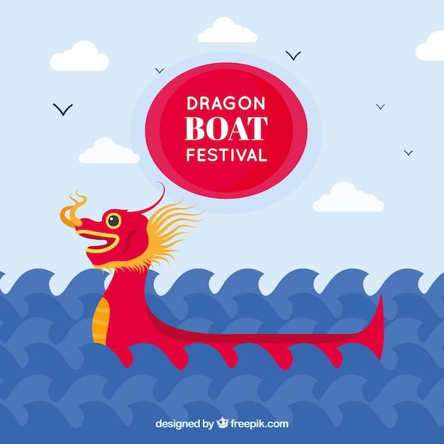 Dragon boat festival achtergrond met golven Gratis Vector