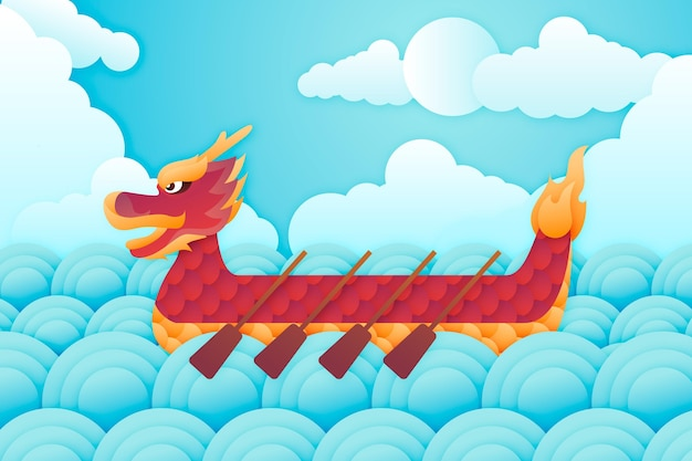 Dragon boat wallpaperin papierstijl Gratis Vector