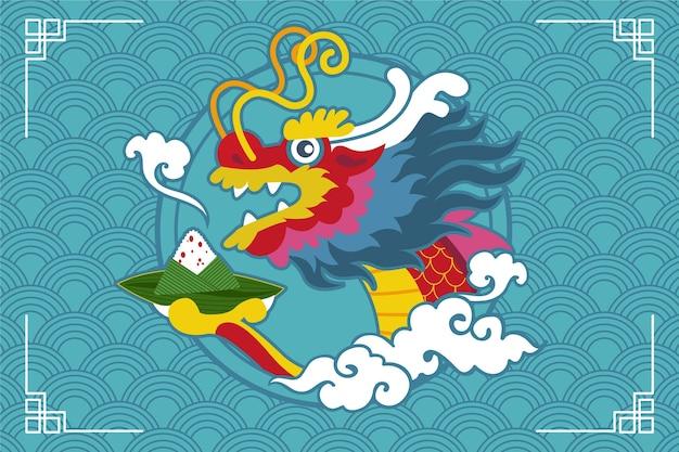 Dragon boat zongzi achtergrond concept Premium Vector