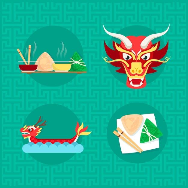 Dragon boat zongzi Gratis Vector