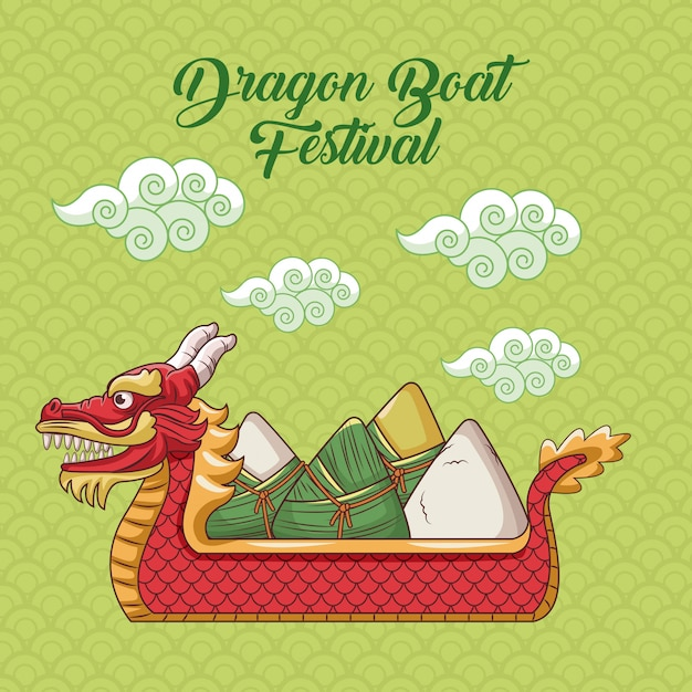 Dragon boot festival cartoon ontwerp Premium Vector