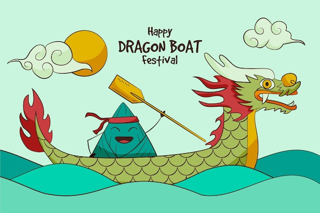 Dragon boten zongzi behang Gratis Vector