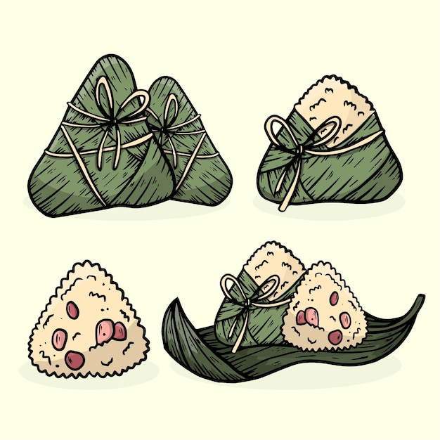 Dragon boten zongzi collectie thema Gratis Vector