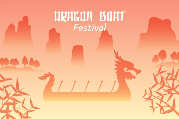 Dragon boten zongzi evenement Gratis Vector