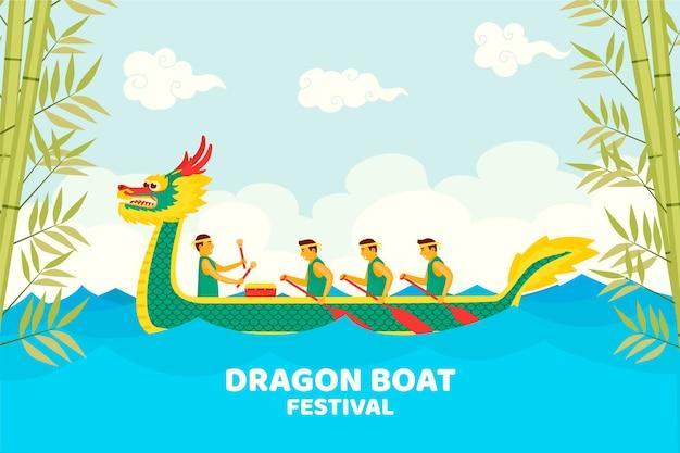 Dragon boten zongzi wallpaper thema Gratis Vector
