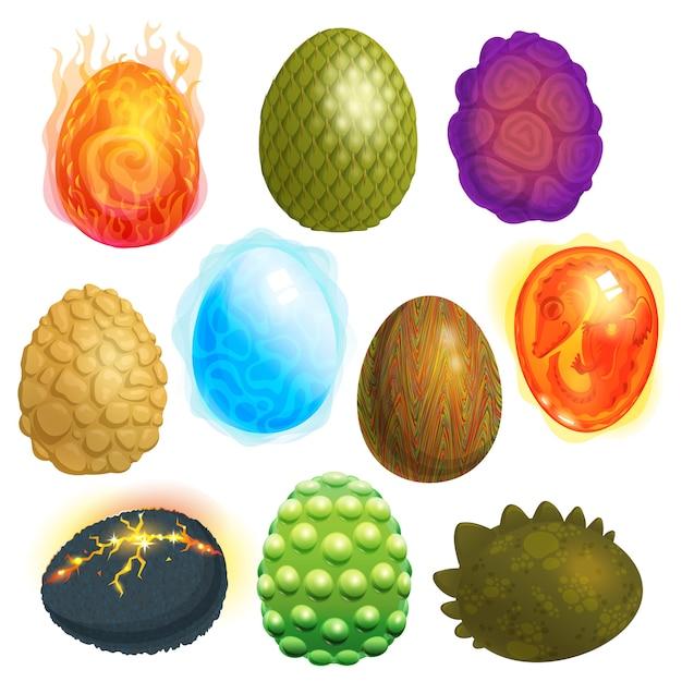 Dragon eieren vector cartoon eierschaal en kleurrijke ei-vormige pasen symbool illustratie Premium Vector