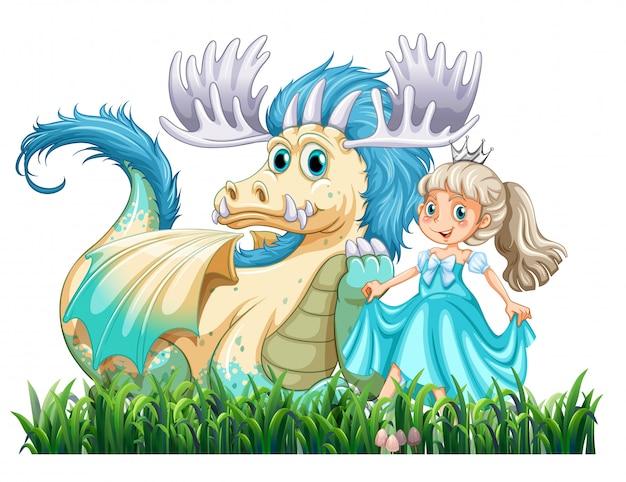 Dragon en prinses Gratis Vector