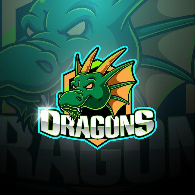 Dragon esport mascotte logo Premium Vector