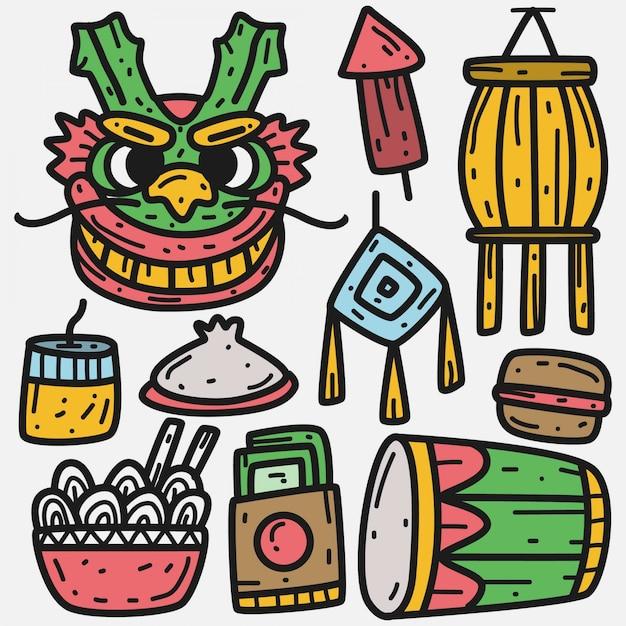 Dragon festival cartoon doodle kawaii illustratie Premium Vector