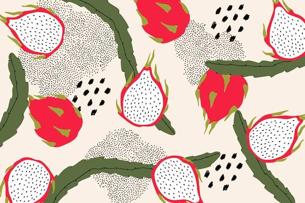 Dragon fruit patroon Gratis Vector