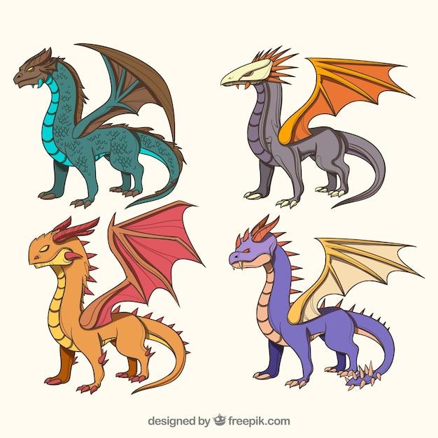 Dragon karakterverzameling Gratis Vector