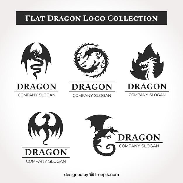 Dragon-logocollectie met plat ontwerp Gratis Vector