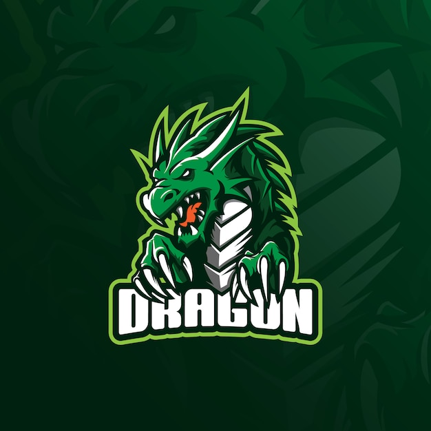 Dragon mascotte logo designwith moderne illustratie conceptstijl voor badge, embleem en t-shirt afdrukken. Premium Vector