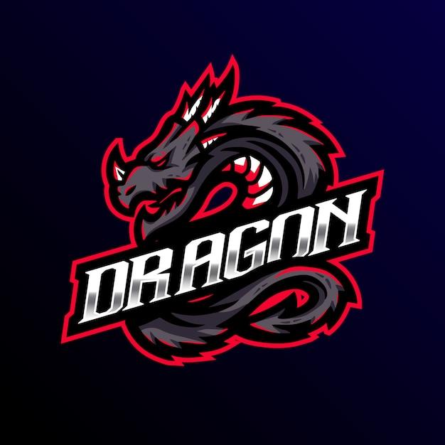 Dragon mascotte logo esport gaming Premium Vector
