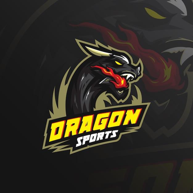 Dragon mascotte logo met moderne illustratie Premium Vector