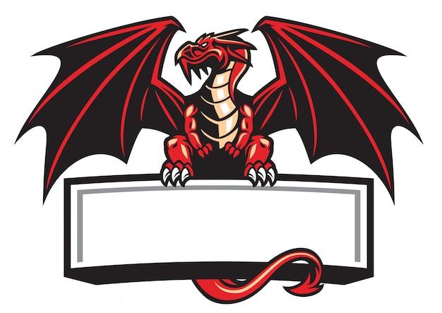 Dragon mascotte spreidde de vleugels Premium Vector