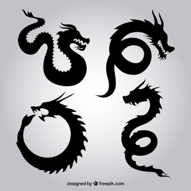 Dragon silhouetten Gratis Vector