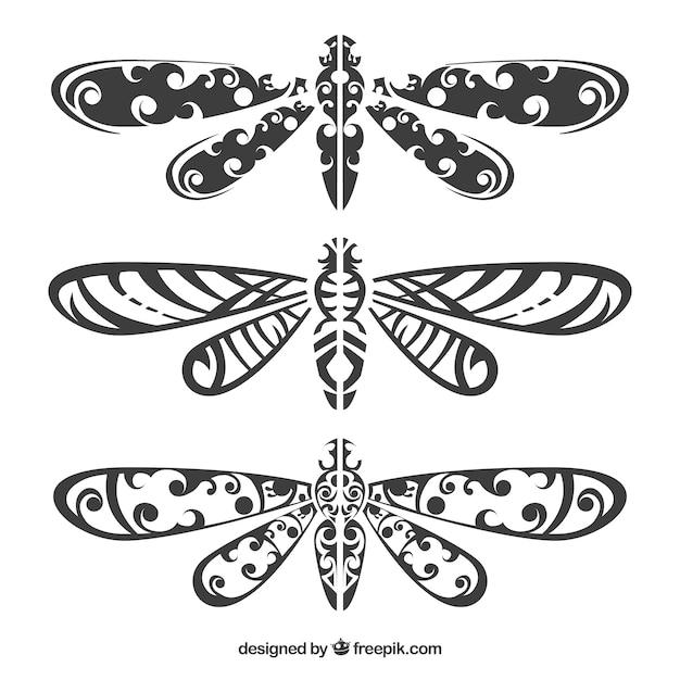 Dragonfly tattoo collectie Gratis Vector