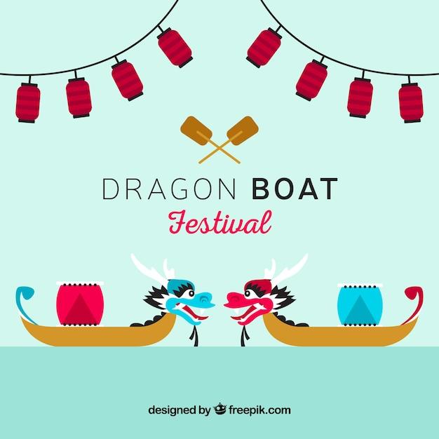 Drakenboot festival achtergrond Gratis Vector
