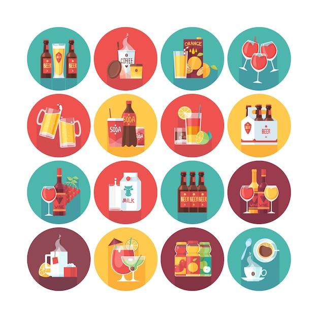 Drank en drank icoon collectie. cirkel pictogrammen instellen met lange schaduw. eten en drinken. Premium Vector