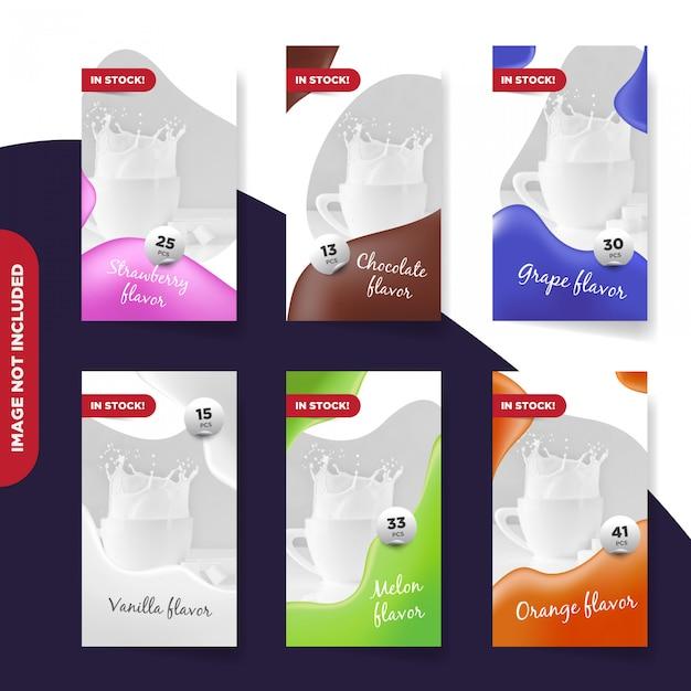 Drank instagram-verhalen en bannercollectie Premium Vector