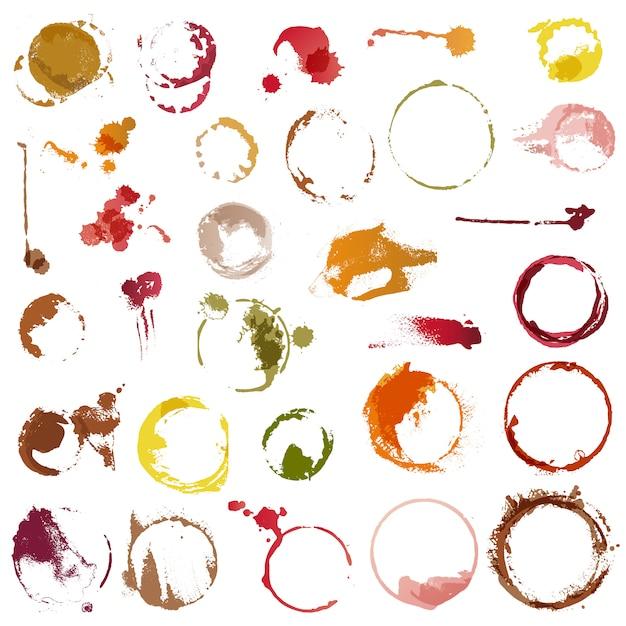 Drank vlekken vector vlekken cirkels van koffiekopje of wijn glas illustratie set Premium Vector