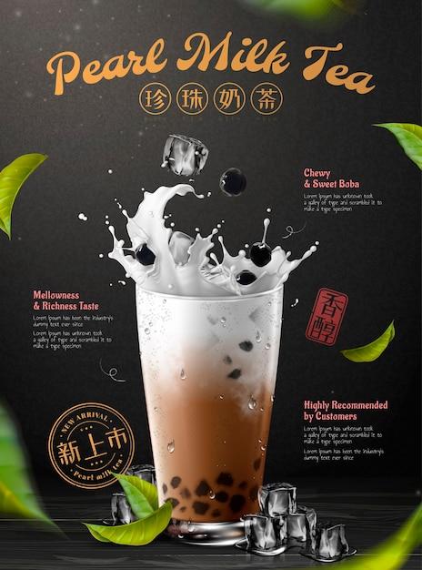Drankadvertenties met opspattende melk en parel boba-thee Premium Vector