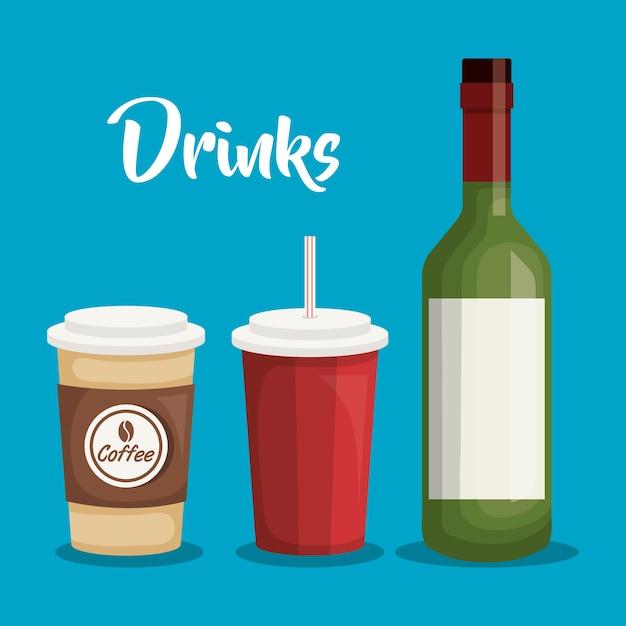Dranken drank stel iconen vector illustratie ontwerp Premium Vector